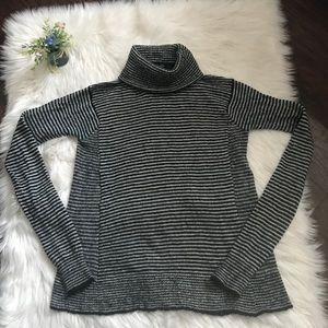 Zara Knit Striped Mock Neck Sweater